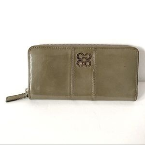 Coach Gray Patent Leather Zip Wallet